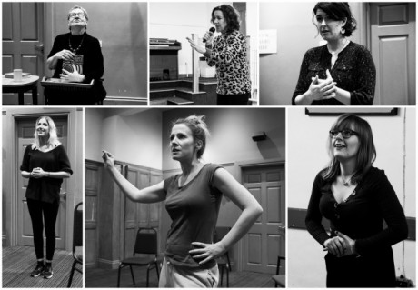 Collage of cast in rehearsals